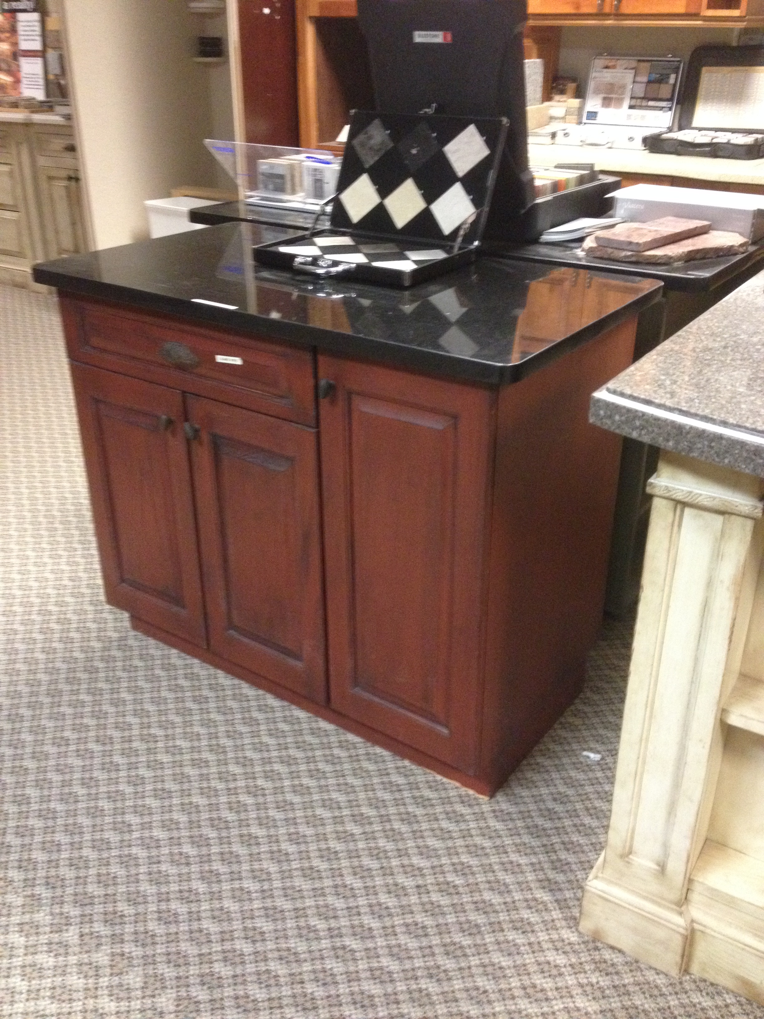 Red Painted Oak Island In Our Showroom
